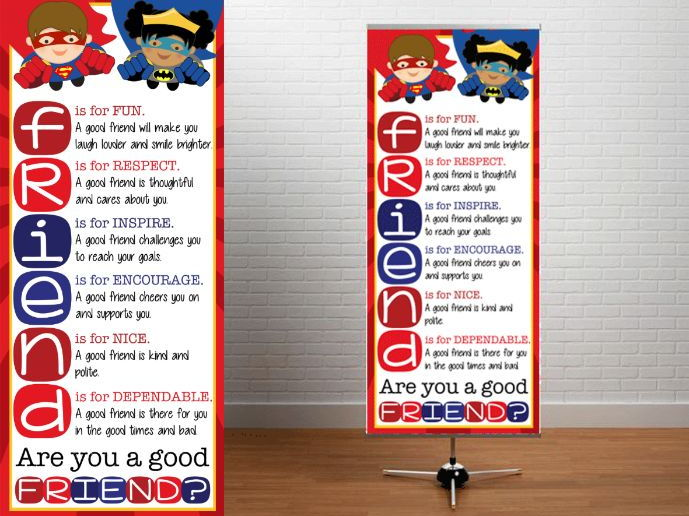 SUPER HERO - Classroom Decor: LARGE BANNER,  Are you a good Friend