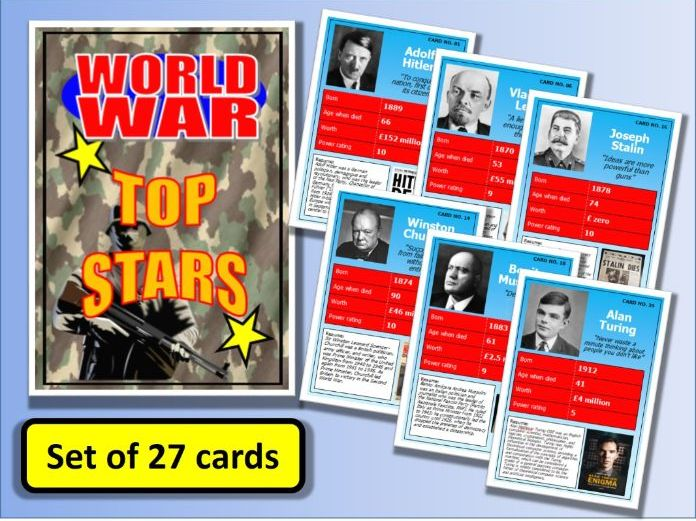 Famous World War One & Two People Top Stars Card Game set of 27 History End of Term Activity