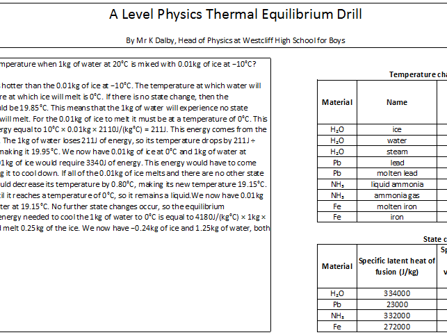 A Level Physics Thermal Equilibrium Drill