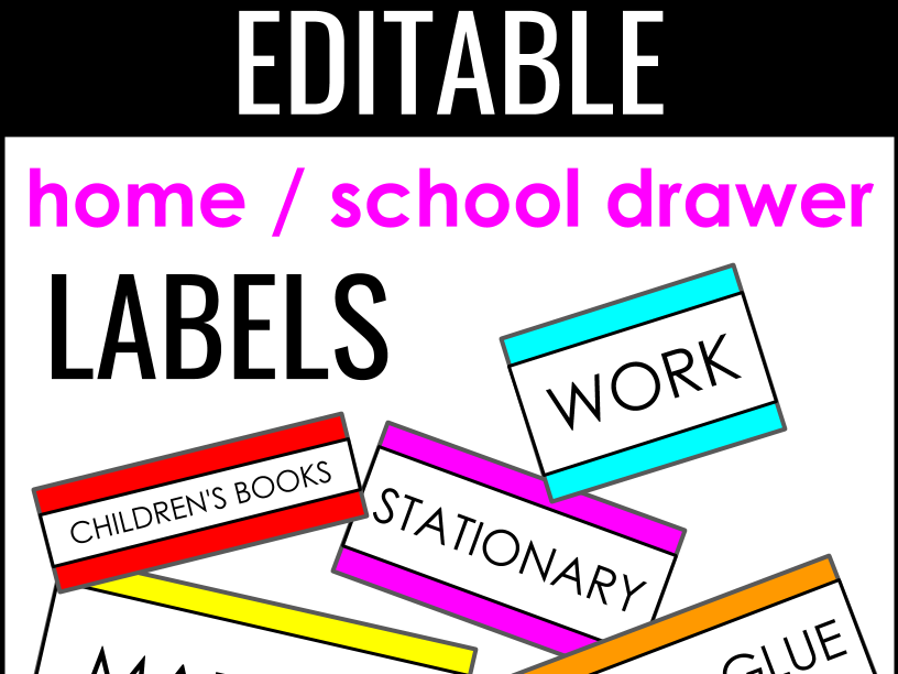 Editable Classroom and Home Labels
