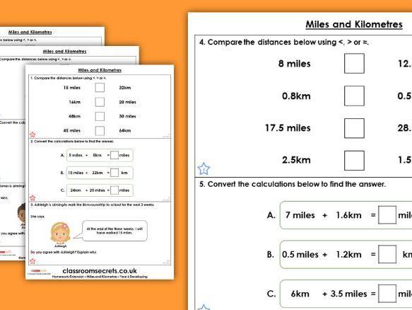 Year 6 Miles and Kilometres Spring Block 4 Maths Homework Extension