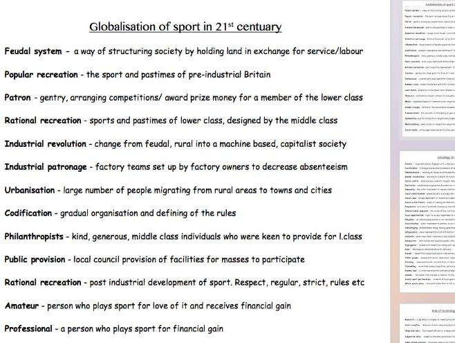 Physical Education new alevel - glossary of key terms and definitions - (Section C)