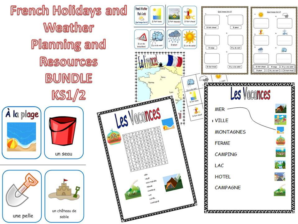 French Holidays, At the Beach and Weather Resources KS1/2