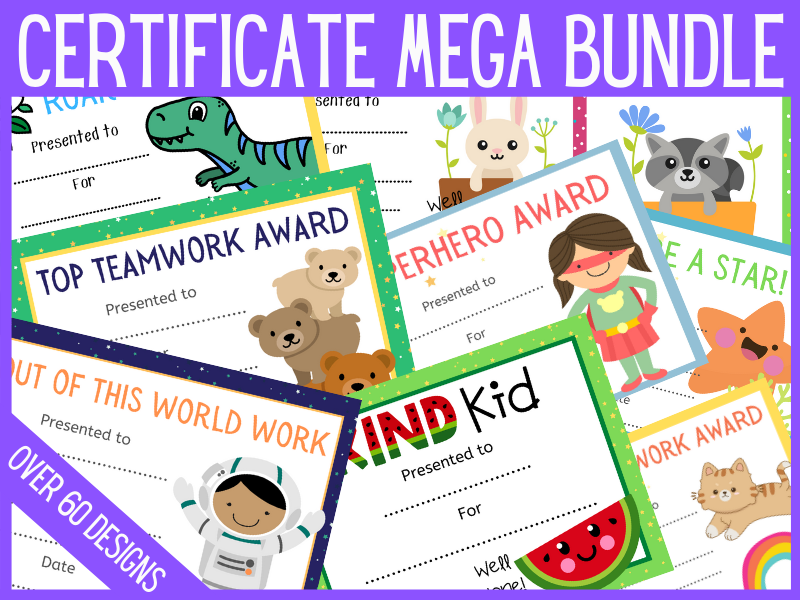 Bundle of reward certificate designs to print or use online