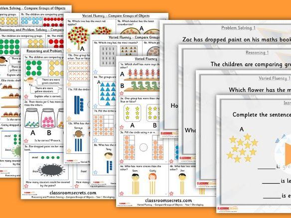 Year 1 Compare Groups of Objects Autumn Block 4 Step 5 Lesson Pack