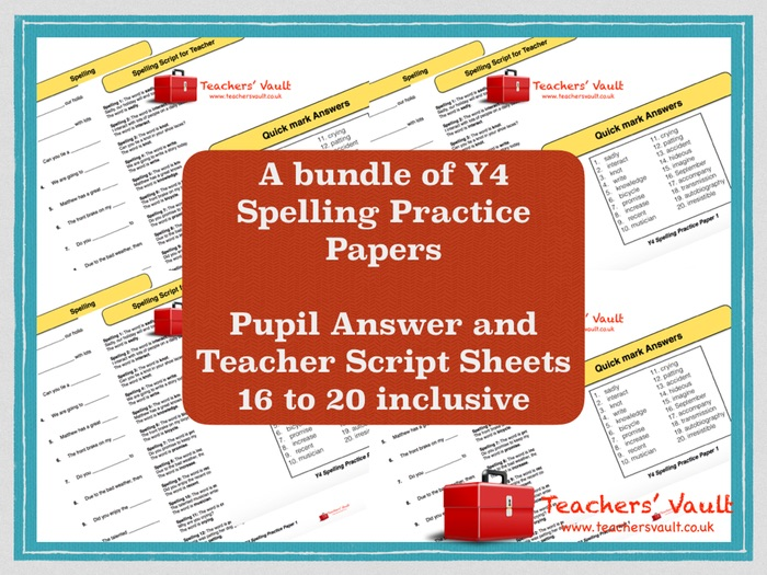 Y4 Spelling Practice Papers Bundle 4 - Papers 16 to 20