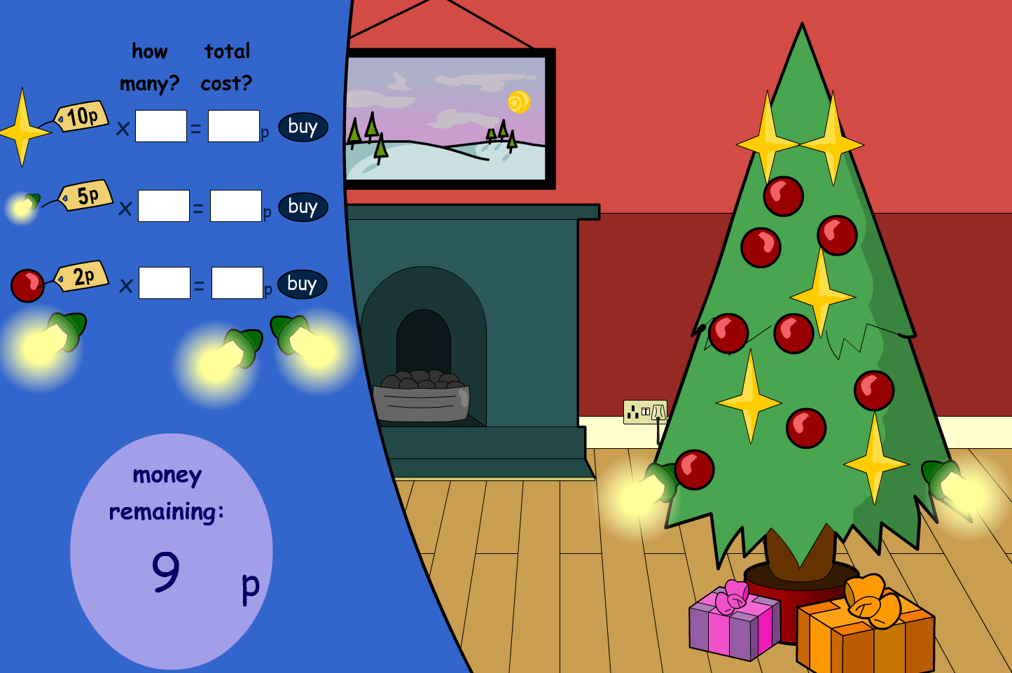 Buying Decorations Interactive Game - Christmas KS1/KS2