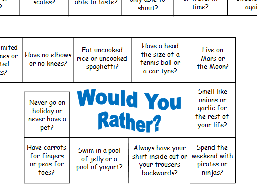 Would you rather? Game board