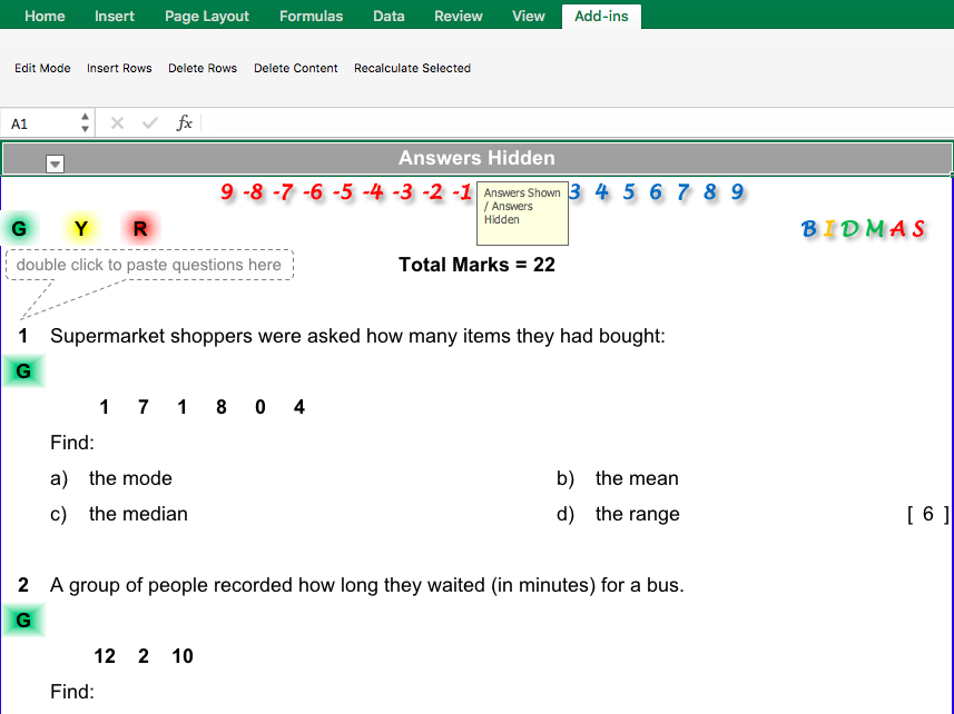 Mean, Mode, Median and Range Differentiated Worksheet
