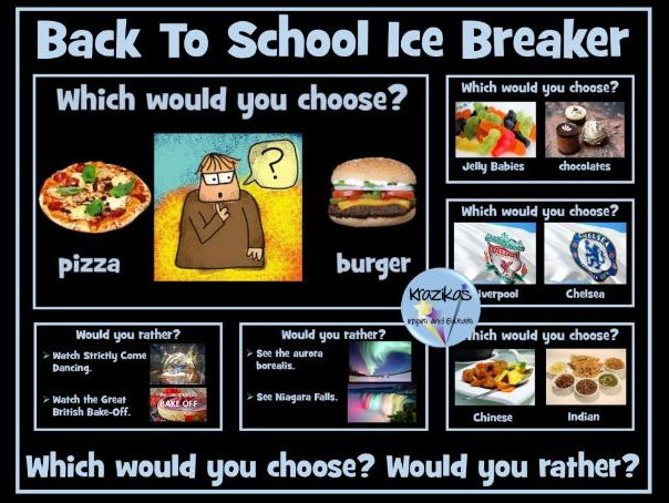 Back To School Ice Breaker - Would You Rather? Which Would You Choose?