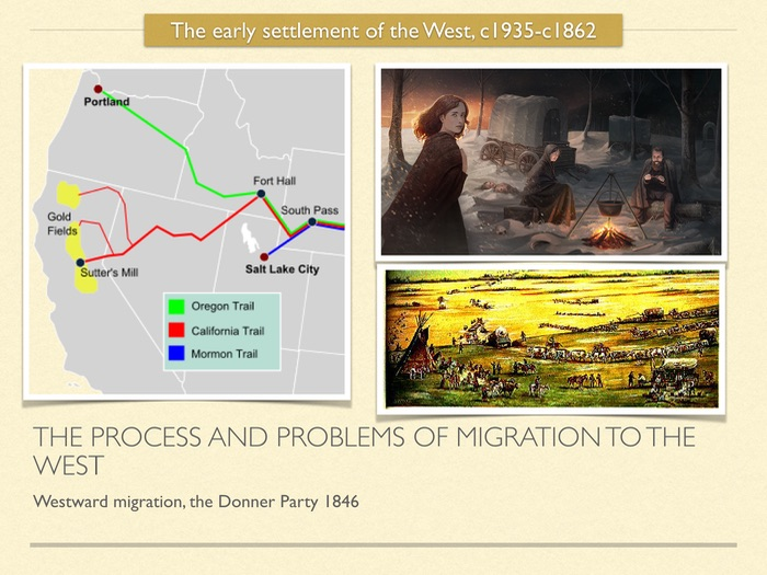 GCSE History of American West in 19th Cent. The problems of migration to the West. The Donner Party