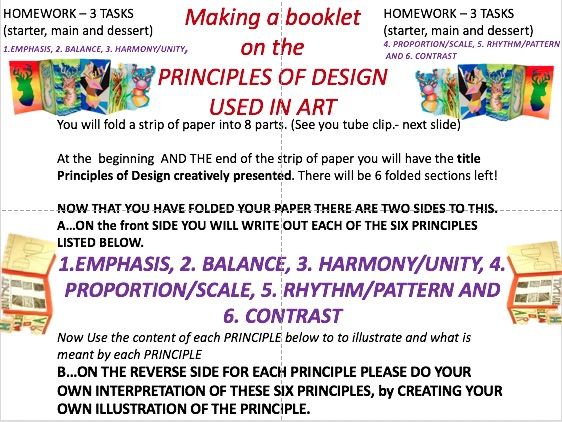 PRINCIPLES OF DESIGN fold out booklet. Balance, Harmony, Emphasis
