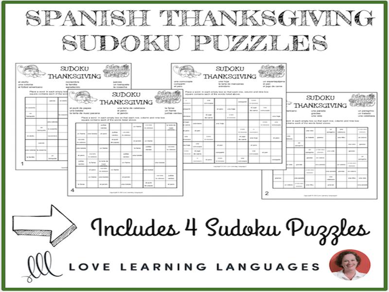 Spanish Thanksgiving Sudoku Puzzle