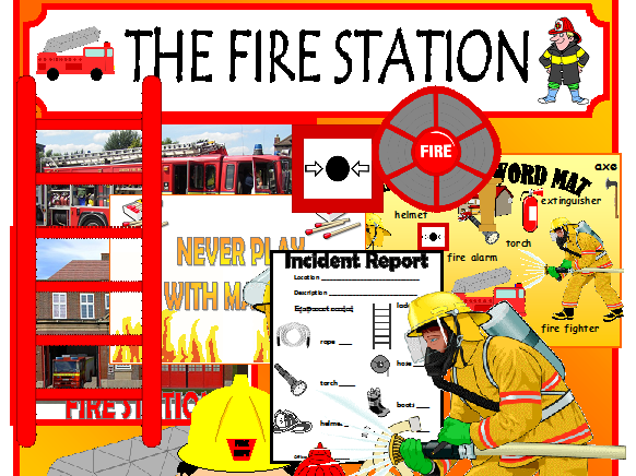 FIRE STATION ROLEPLAY EYFS KSQ CLASSROOM DISPLAY NUMBERS MATHS