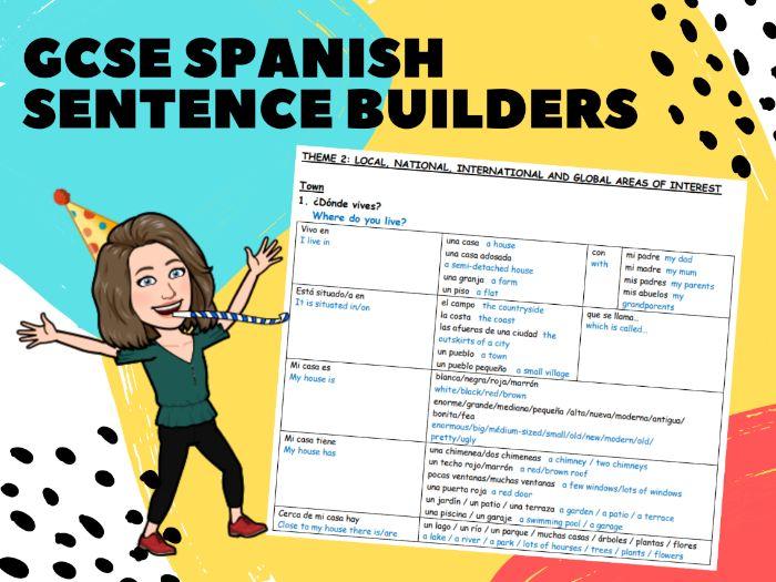 Spanish AQA GCSE Sentence Builder Booklet ALL TOPICS