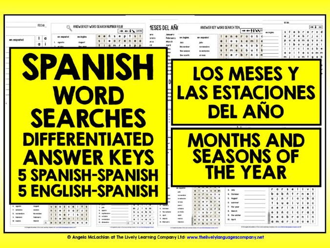 SPANISH MONTHS SEASONS WORD SEARCHES