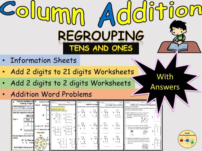 Addition Column Vertical Add 2 Digits Tens and Ones Regrouping Worksheets