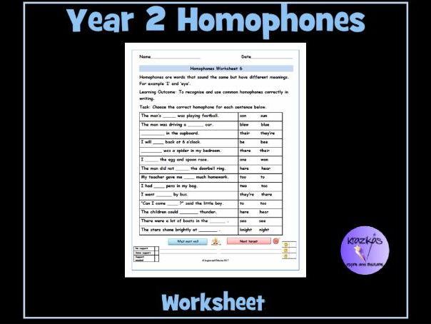 Homophones Year 2 Homophones Worksheet