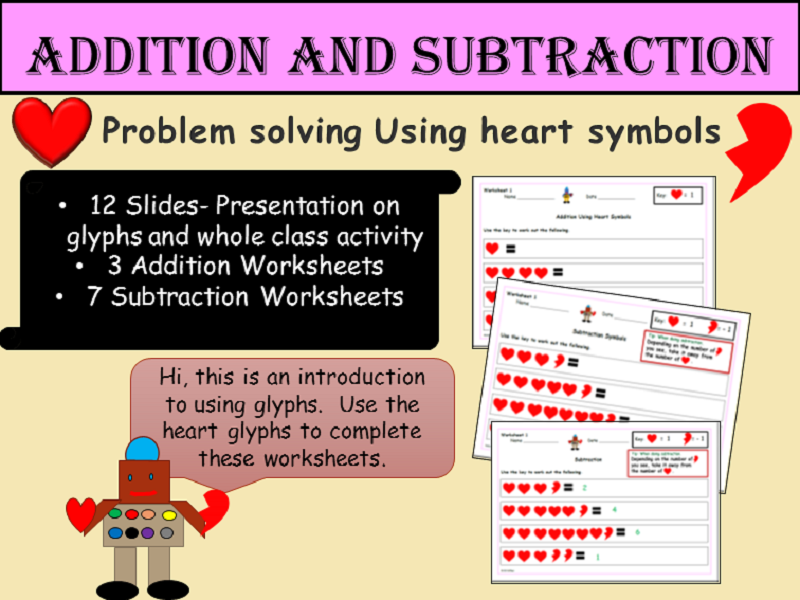 St. Valentine's Heart Glyphs- Addition /Subtraction Problem-Solving Worksheets Presentation EYFS/KS1