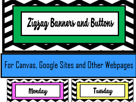 Zigzag Banners and Buttons - Canvas, Google Sites and Other Webpages