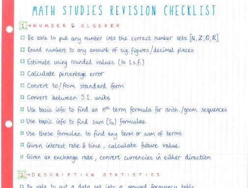 IB Maths Studies SL - Revision Checklist