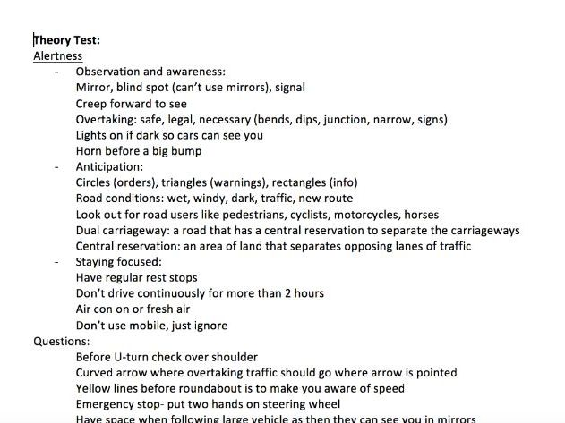 Car theory test