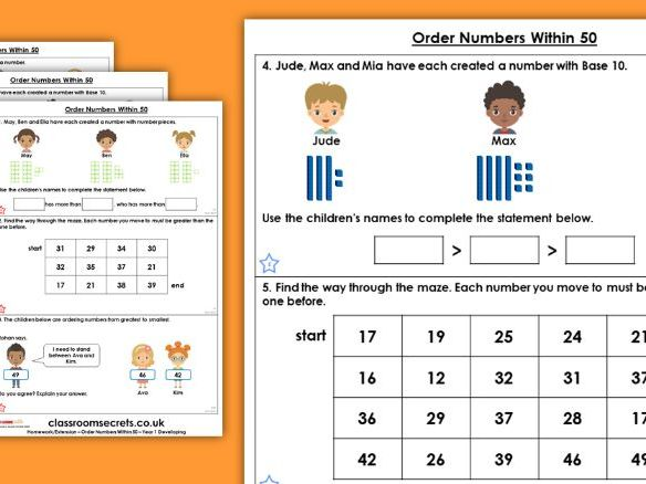 Year 1 Order Numbers Within 50 Spring Block 2 Maths Homework Extension