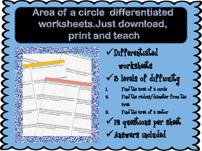 Area of a circle differentiated worksheets by MissEHoney - Teaching ...