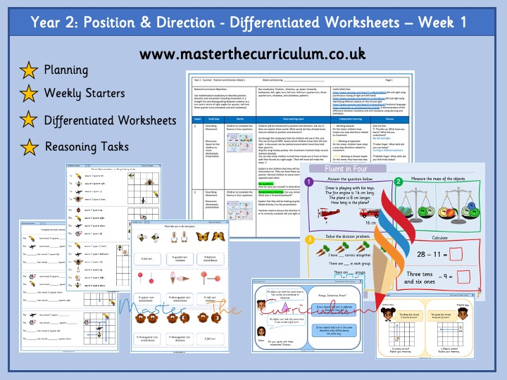 Year 2- Summer - Position and Direction – Week 1- Differentiated Sheets - White Rose Style
