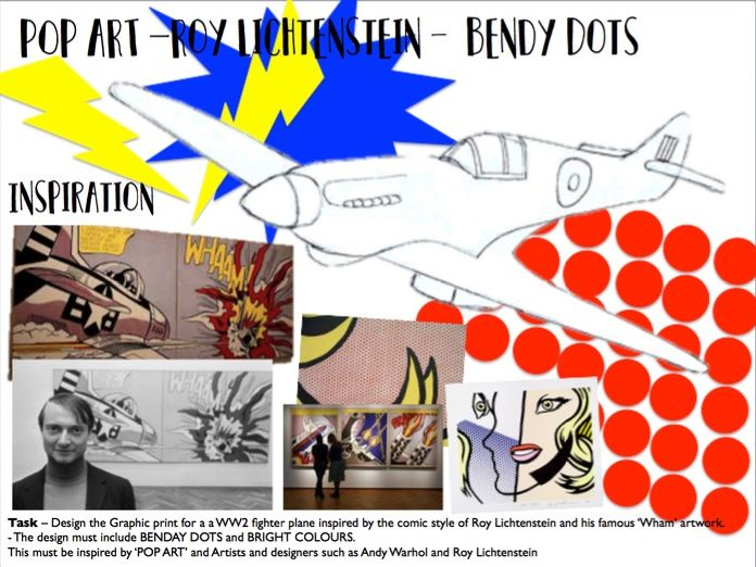 Roy Lichtenstein Pop Art Plane Design - Cover Lesson or Homework Task