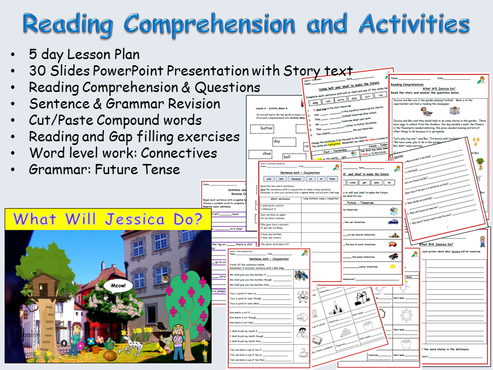 Reading Comprehension, Text/Sentence/Word work - Presentations, Lessons  1-5, Worksheets