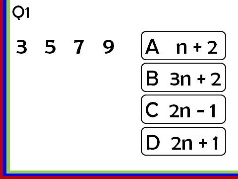 Linear Sequences_nth term: Multiple Choice Quizzes