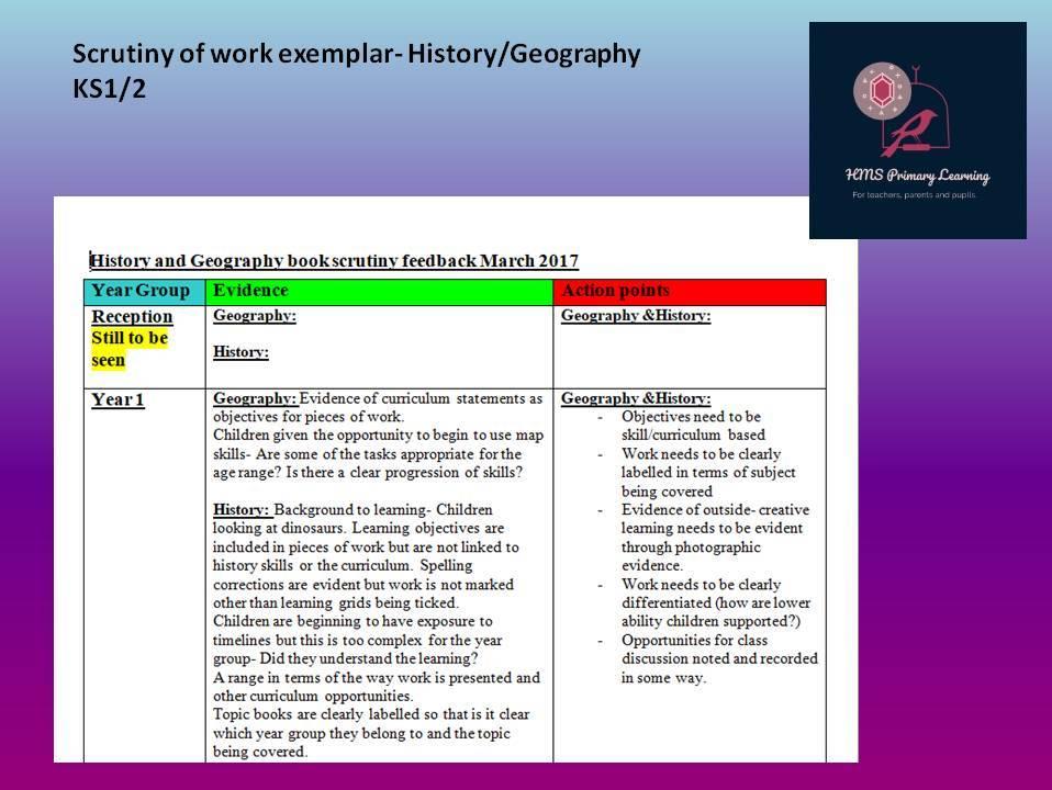 Subject scrutiny exemplar- history/geography KS1/2