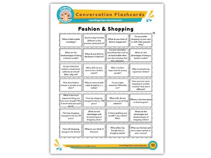 Fashion & Shopping - Conversation Flashcards