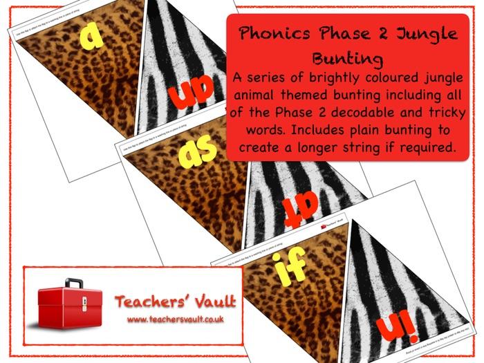 Phonics Phase 2 Jungle Bunting Display
