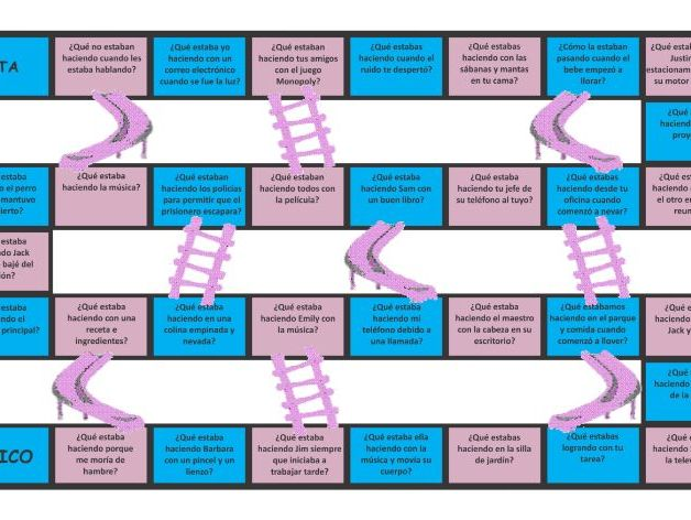 Past Continuous Tense Spanish Chutes and Ladders Board Game