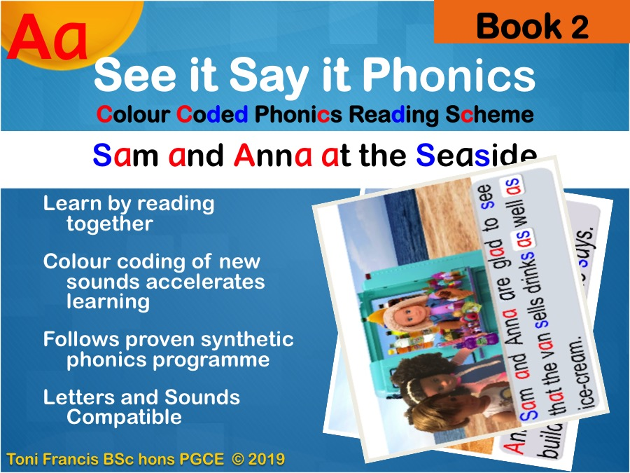 phonics book 2 'a' read along colour coded phonics for whiteboard, iPad whole class guided reading