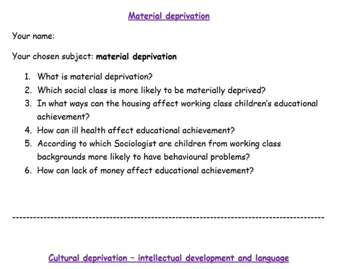 material deprivation can effect educational achievement