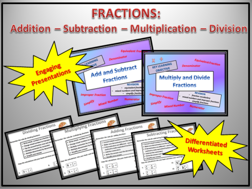 FRACTIONS : ADD - SUBTRACT- MULTIPLY - DIVIDE Bundle