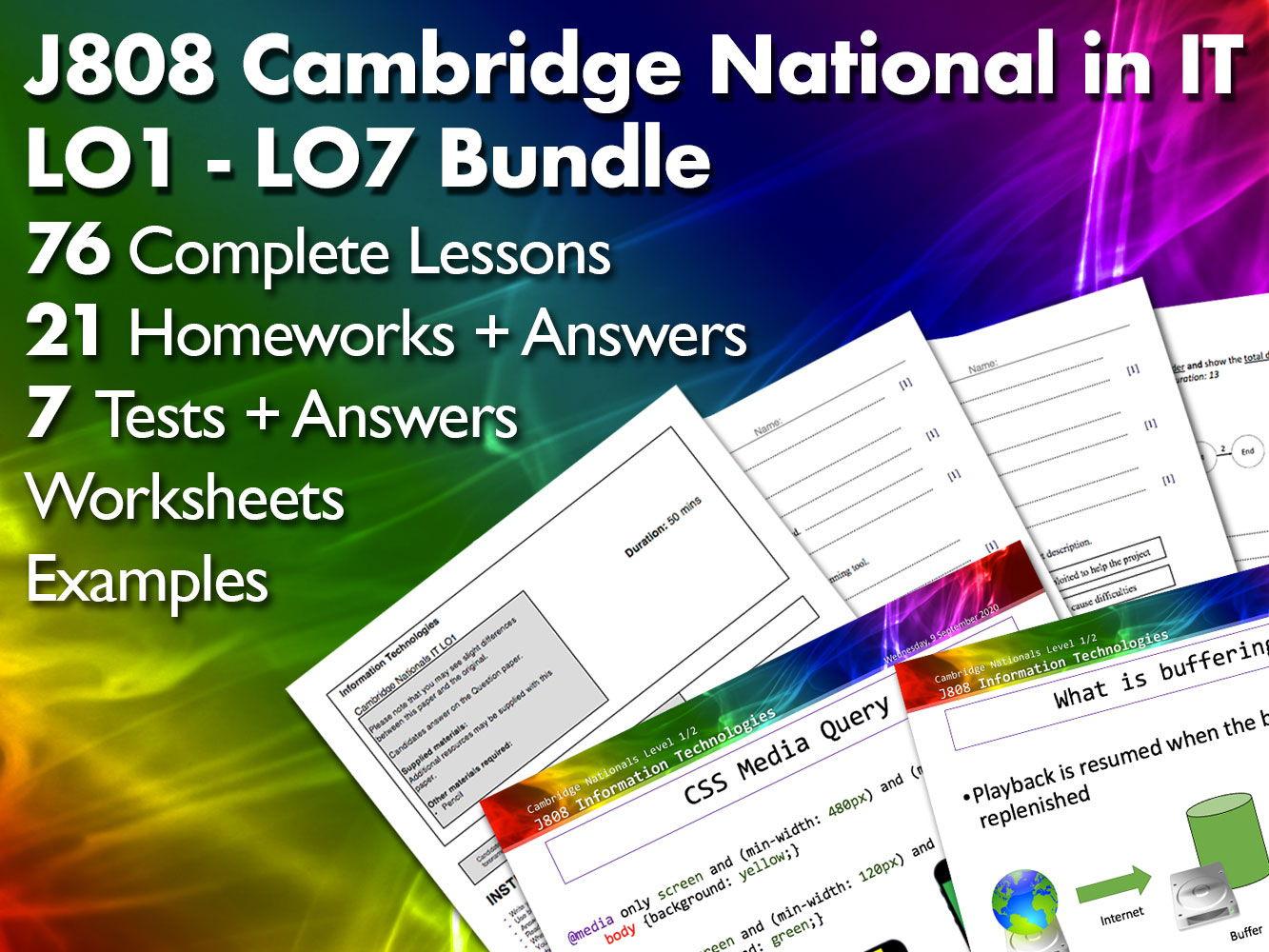J808 Cambridge National SoW LO1 - LO7 Bundle