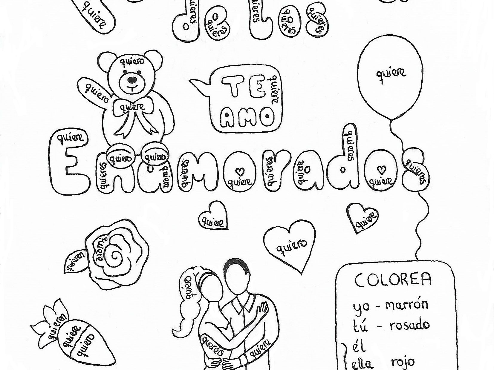 Hand drawn color by conjugation worksheets for Valentine's Day and Christmas