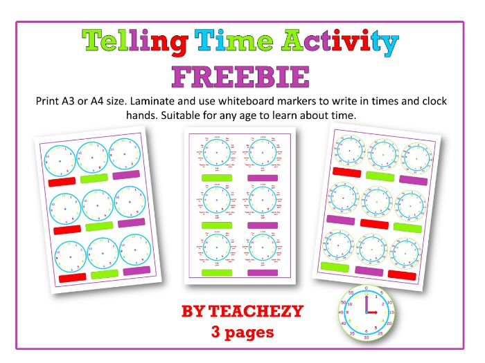 Telling Time Activity Freebie
