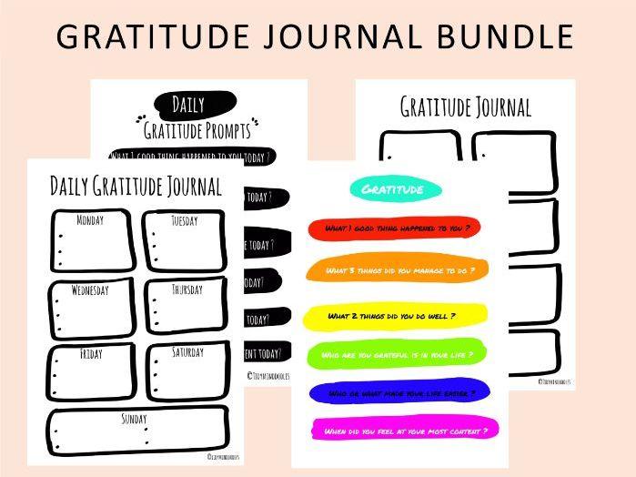 Gratitude Journal Bundle Printable worksheets, Positivity journal, Daily Happiness Planner sheet
