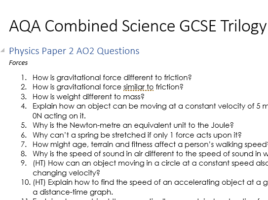 AQA GCSE Combined Science: Trilogy AO2 Questions Complete Set