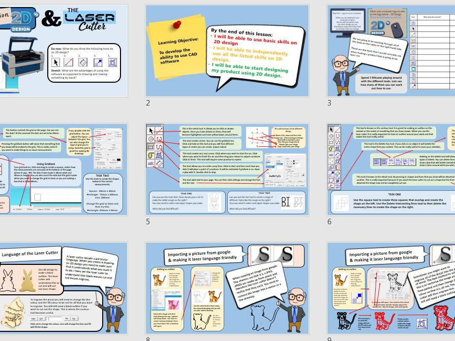 Introduction to 2D design and the Laser Cutter - Editable Slide & Worksheet -