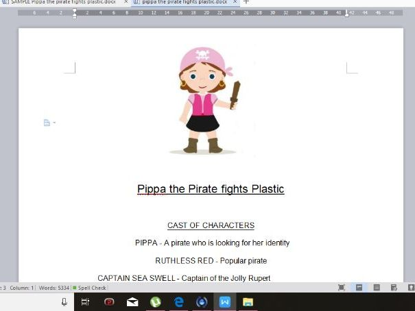 3 page sample of the play 'Pippa the Pirate Fights Plastic'