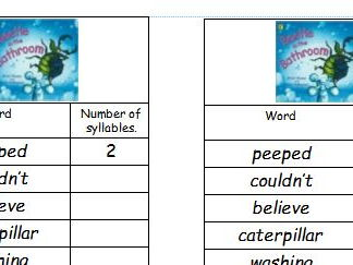 Guided Reading Year 1 or 2 Beetle in the bathroom (Green level)  syllable hunt