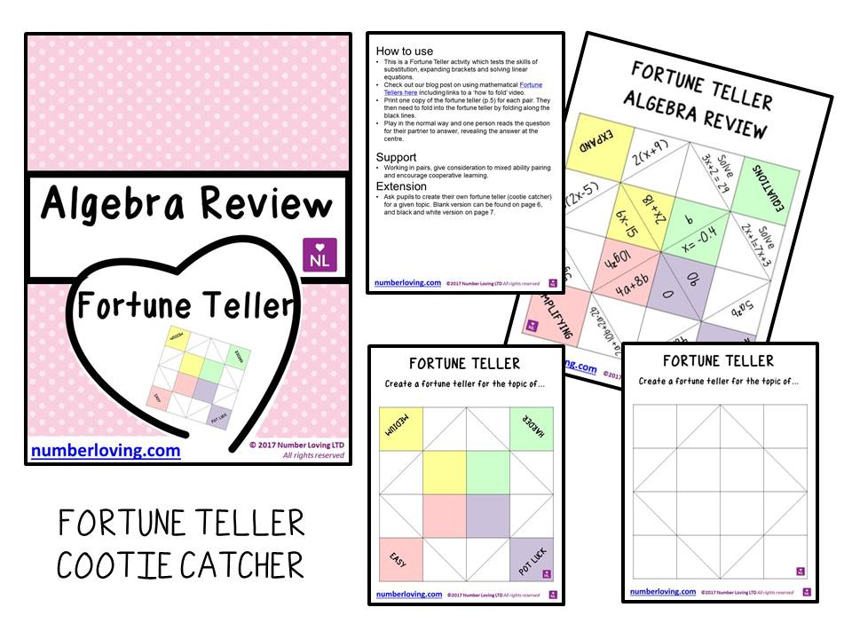 Algebra Review Fortune Teller