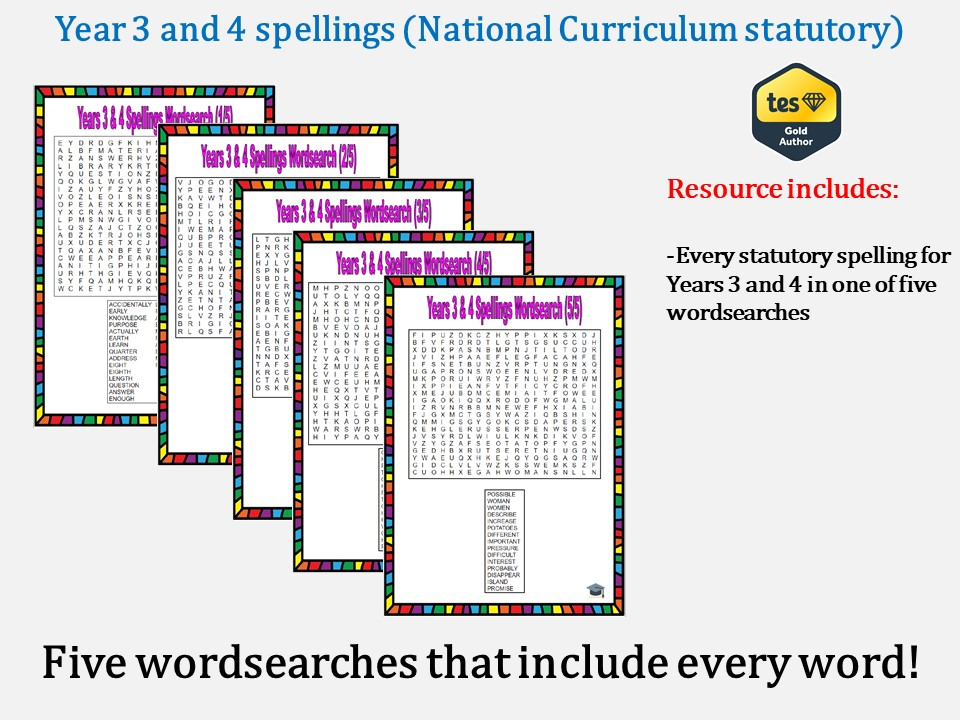 Year 3 & 4 National Curriculum spellings wordsearches