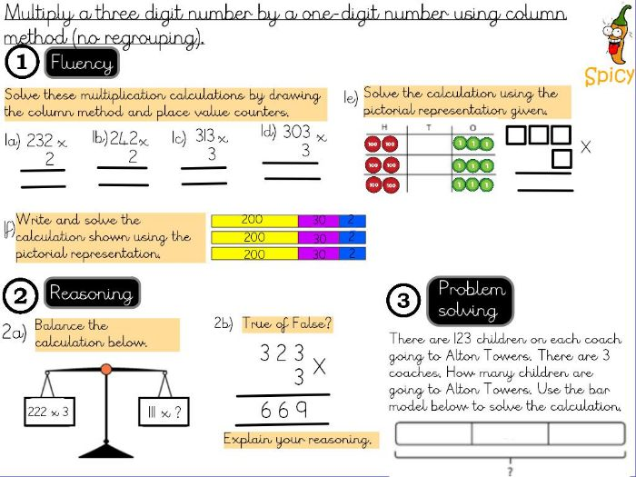 Multiplication and Division- Multiply a 3-digit number by a 1-digit number using column method.